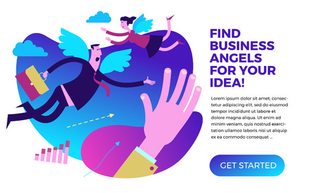 Business infographics, business situations. Business angel. Man and woman angels with wings flying to the rescue. Investor, sponsor finances new projects. Vector illustration of flat design. Project, contract, diagram, and graphic elements. Template for your presentation, web site.
