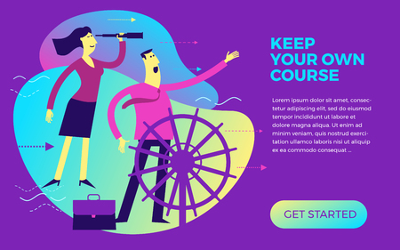 Business infographics, business situations. A man and a woman are at the helm. Team work, employees go to the goal in a single way. To see the future. To achieve the goal, career, profession. Vector illustration of flat design.