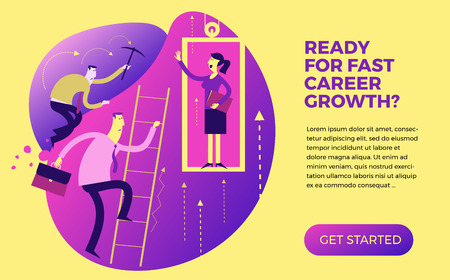 Business infographics, business situations. Career ladder, service elevator, workers strive upward, achievement goal, career, professional growth. The way up through the ranks. Business people. Vector illustration of flat design. Template for your presentation, web site.  イラスト・ベクター素材