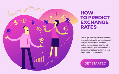Exchange of currency. Business infographics with illustrations of business situations. Illustration of a cheerful businesswoman juggling with currency and money. Exchange rate. For presentations, landing pages, animations and other creative projects.
