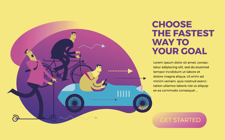 Business infographics, business situations. Men ride in different vehicles: scooter, bike, car. Make the right choice. Competition. The choice of effective solutions in business. Illustration