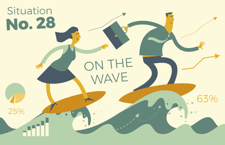 Business infographics with illustrations of business situations. Businessman and businesswoman on the wave of success. To travel forward through the waves. To achieve the goal. Be on top. Vector illustration of flat design.  イラスト・ベクター素材