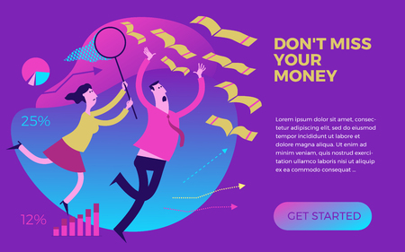 Business infographics with illustrations of business situations. Man and woman catching money with a hand and a butterfly net. Do not lose your money. Lost profits, opportunities. To catch a profit. To achieve the goal. Start-up.