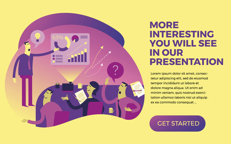 Business infographics with illustrations of business situations. A man defends the project in front of an audience. Idea presentation. Report of the startup project for the investor Commission. Vector illustration of flat design.