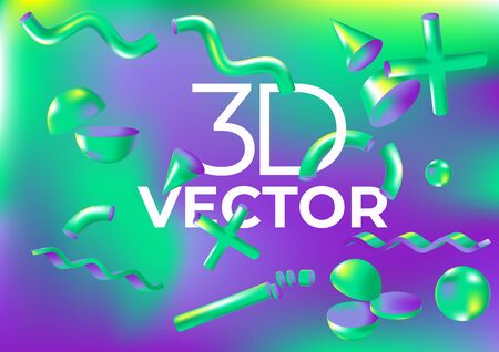 Vector holographic background with virtual 3D shapes for web, packaging, presentation, advertising, wallpaper, cover or poster.
