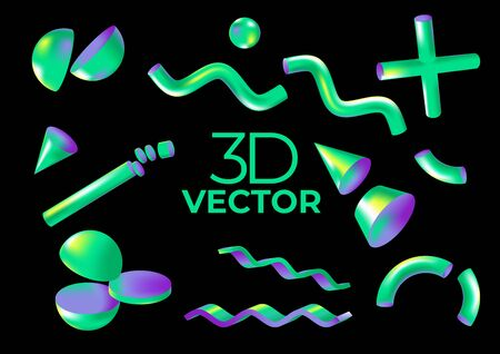Vector holographic isolated virtual 3D shapes for web, packaging, presentation, advertising, wallpapers, covers or posters.