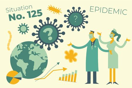 Flat medical illustration on the theme of the epidemic: a doctor and a nurse look at the virus attacking the Earth and helplessly spread their hands. Illustration