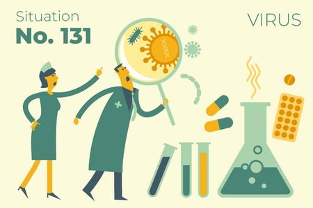 Flat medical illustration on the theme of the epidemic: a doctor and a nurse looking at the virus through a magnifying glass, medicines, tablets, pills, tests, flask. Doctors found a virus in the tests and are looking for a cure for the disease.
