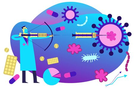 Flat medical illustration on the theme of the epidemic: the doctor aims a syringe at the virus. Medicine defeats disease and epidemic. Illustration
