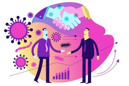 Flat medical illustration on the theme of the epidemic: handshake in which viruses and bacteria are transmitted. The spread of the epidemic.