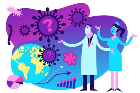 Flat medical illustration on the theme of the epidemic: a doctor and a nurse look at the virus attacking the Earth and helplessly spread their hands.  イラスト・ベクター素材