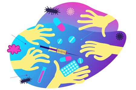 Flat medical illustration on the theme of the epidemic: hands reaching for drugs, syringe, tablets.