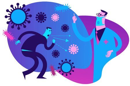 Flat medical illustration on the theme of the epidemic: a male doctor talking about the disease, preventing the disease, raising his finger up