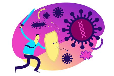 Flat medical illustration on the theme of the epidemic: a man with a shield and a sword protects the body from a viral disease. Immune system.