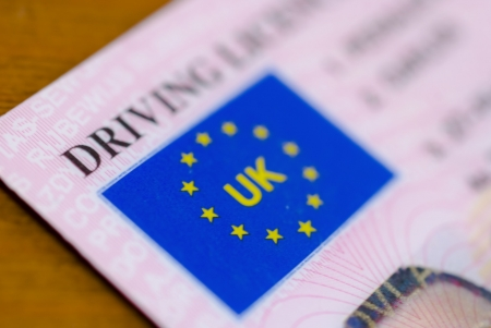 close up of a uk driving license Stock Photo