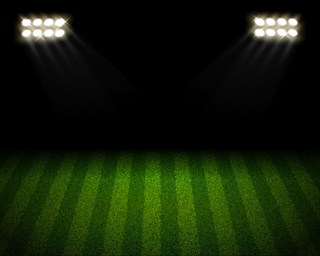 lanscape: soccer stadium with yellow spotlight lanscape Illustration
