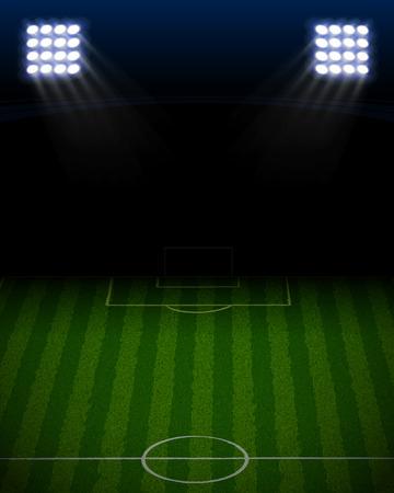 ブルー スポット ライトの肖像画のサッカー スタジアム