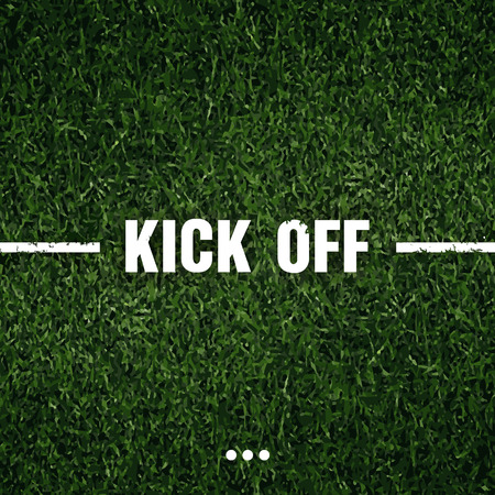 kick off: soccer grass with text background Illustration
