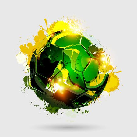 Colorful splattered soccer ball explosion on white background