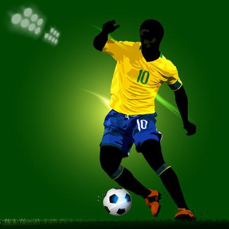 jugador de futbol soccer: la silueta del jugador de f�tbol con un fondo verde Vectores