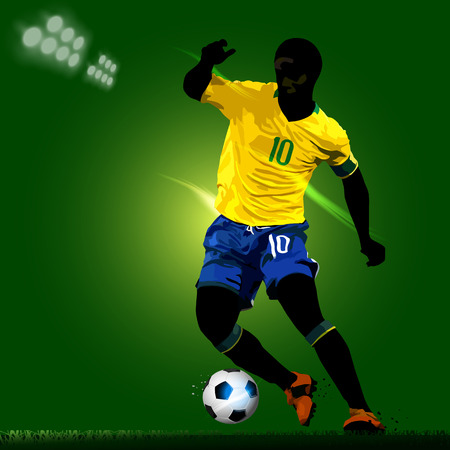 tackling: silhouette of soccer player with a green background