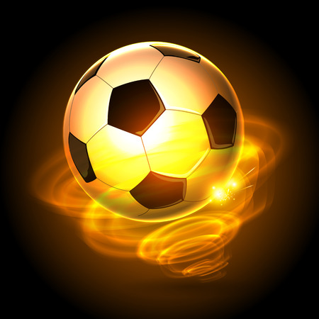 サイクロンの背景を持つ火サッカー ボール