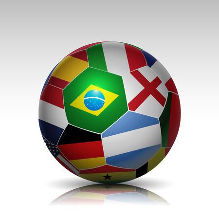 world flags soccer ball design vector background