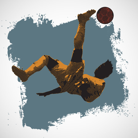 Silhouette Soccer player scissor kick with grunge background Banco de Imagens - 26567773