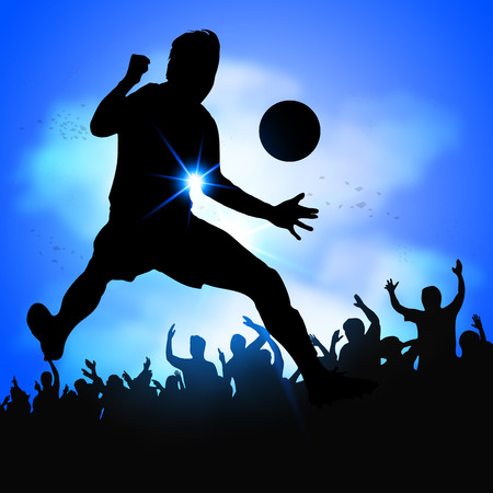silhouette soccer player celebrates goal with huge crowd Çizim