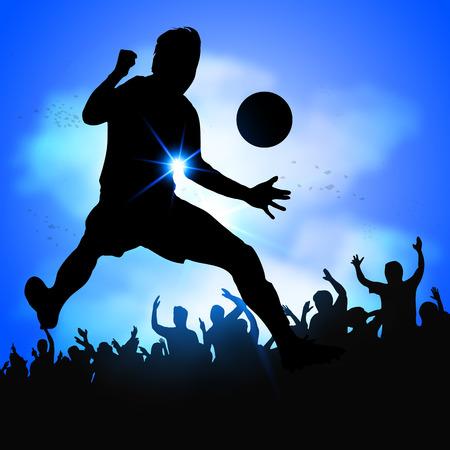 conquering adversity: Silueta del jugador de f�tbol celebra el gol con gran multitud