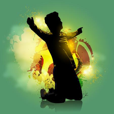 conquering adversity: Silueta del jugador de f�tbol celebraci�n con fondo de colores Vectores