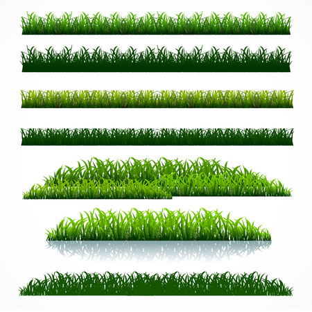 silhouette green grass collection pack vector graphic