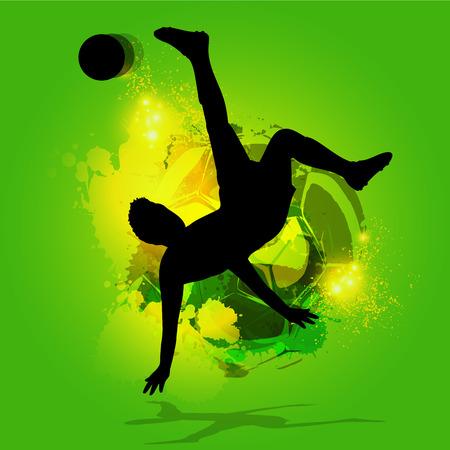 back lit: silhouette soccer player overhead kick with a splatter background Illustration