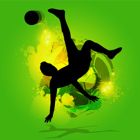 mid air: tijereta futbolista silueta con un fondo de la salpicadura Vectores