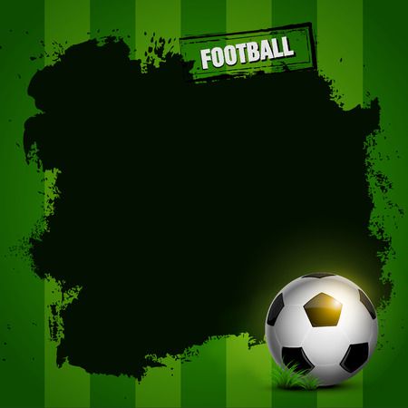 football frame grunge design on soccer green background