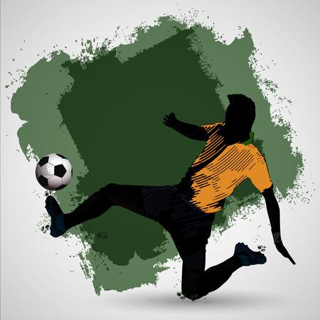 soccer player vintage style slide tackling for the ball Ilustração
