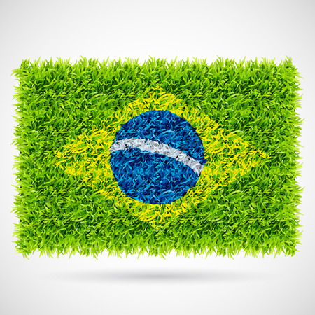 Brazil Flag on Soccer Grass vector background