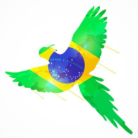 brasil: brazilian bird macaw flying with brazil flag texture Illustration