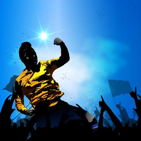 サッカー選手の巨大な群衆のファンのベクトルの背景を祝う