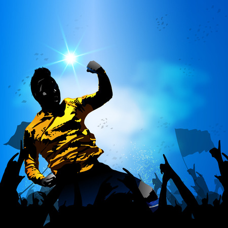 adulation: soccer player celebrating with huge crowd fan vector background