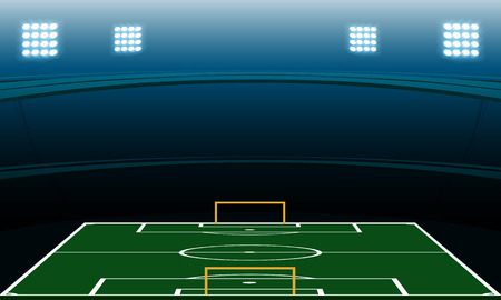 soccer stadium at night with spotlight vector background