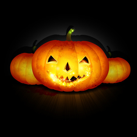 halloween pumpkins shine on dark background vector Ilustração
