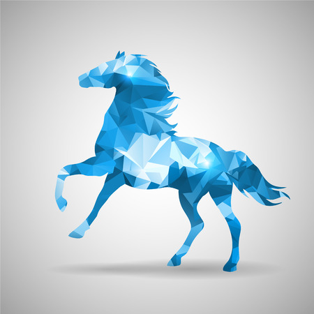 青い三角形の馬のデザインを灰色の背景ベクトル