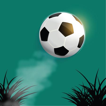mid air: Flying bal�n de f�tbol con la silueta de la hierba de fondo