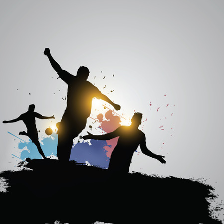 back lit: Three soccer players celebrate winner the game Illustration