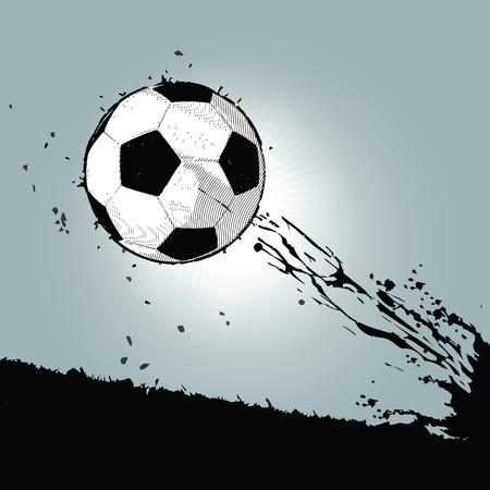 flying grunge soccer ball with silhouette splatter background