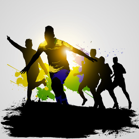 back lit: soccer players celebrate winner the game with team-mates Illustration