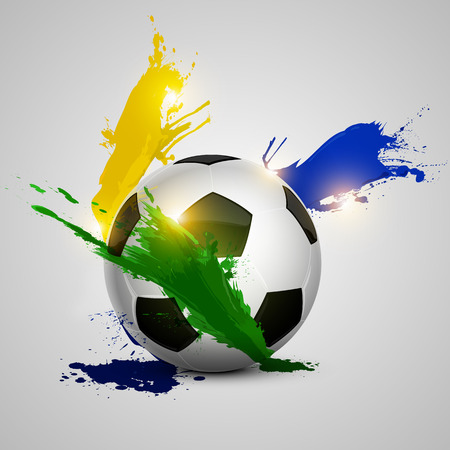 soccer ball and color splash with white background