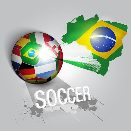 brazil soccer ball with world teams flags vector Ilustração
