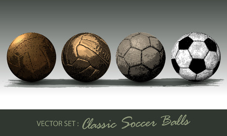 Classic soccer balls engraved collection vector object